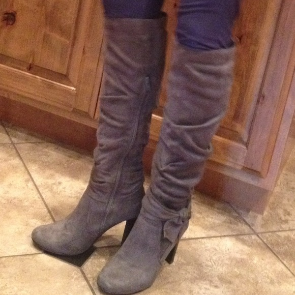 71% off Diba Boots - Tall grey suede boot with bow. from !tatyana ...