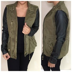 Green/Black Faux Leather Sleeve Cargo Jacket