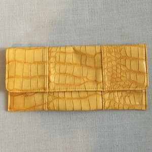 Clutches & Wallets - Yellow snakeskin clutch