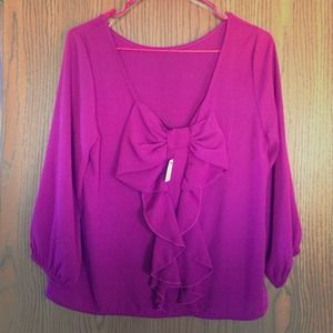 Magenta bow 3/4 sleeve flowy too