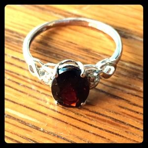 Silver and garnet ring, size 7