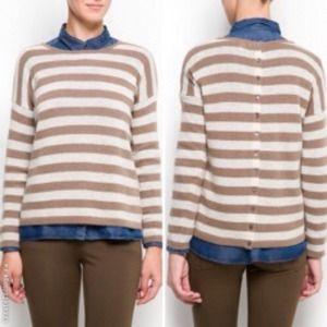 Mango Wool striped back buttons sweater