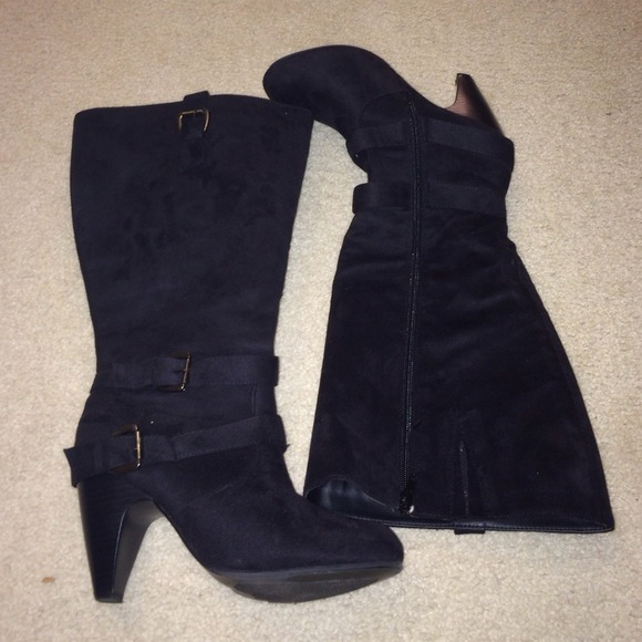 57% off torrid Boots - Suede Wide Calf Black Heeled Boots from ...