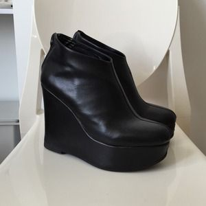 Jeffrey Campbell 'Alicia' Black Wedge Booties