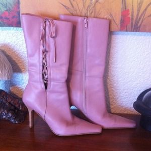 Pink Leather Lace-Up Boots, Mid-Calf