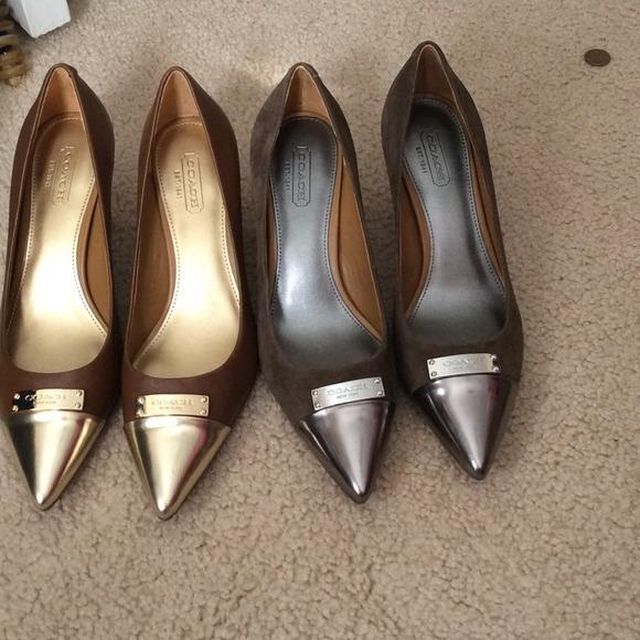 Coach Shoes - Coach gold toe pumps