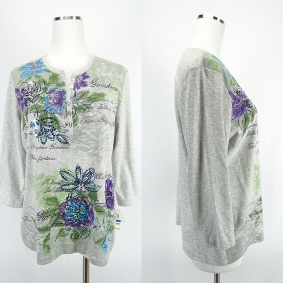 Karen Scott Tops Macys Sm Petite Xl Floral Blouse Poshmark