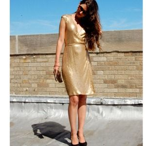 Michael Kors Gold sequin wrap dress