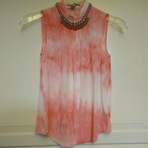 Red tie dye sleeveless tank