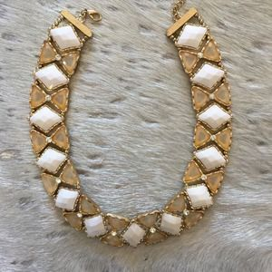 Gorgeous white and gold stone necklace