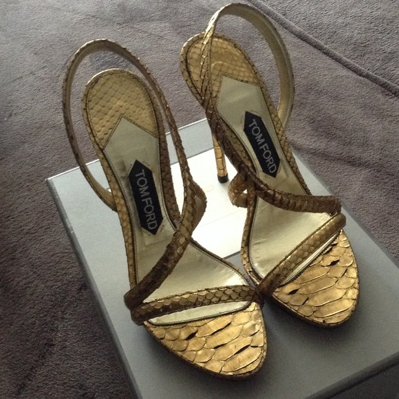 9e36a118a5 Tom Ford Shoes | Very Good Condition Gold Python Sandals | Poshmark