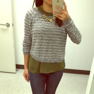 Grey striped sweater top