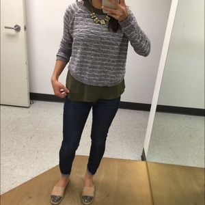 Sweaters - Grey striped sweater top