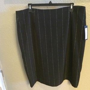 Pinstriped black pencil skirt