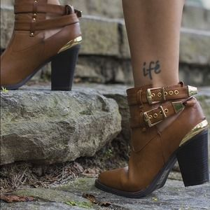 Brown & Gold Cut-Out Booties