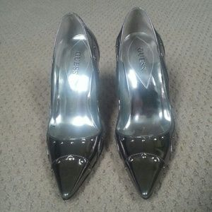 Guess Shoes - GUESS Silver Metallic Pointy Toe Pumps
