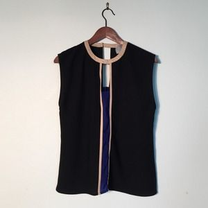 Tops - Black sleeveless top with faux leather accents