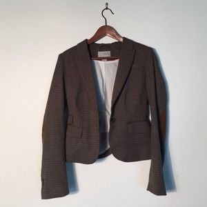 H&M Jackets & Blazers - Brown herringbone cropped blazer with elbow patch