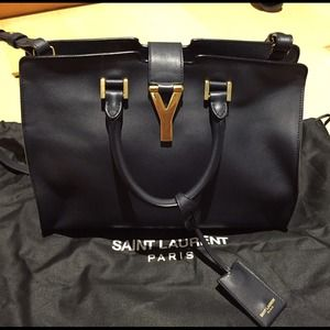 12% off Yves Saint Laurent Handbags - Navy blue YSL classic small ...