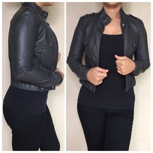 Zara Jackets & Blazers - Zara Dark Gray Faux Leather Jacket