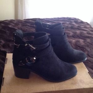 Suede black booties new size 6