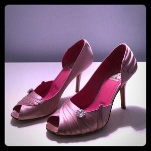 Eugenia Kim Shoes - Eugenia Kim 'Krystle' Satin Pink Peep-toe Pumps