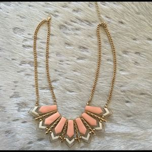 Peach chevron statement necklace