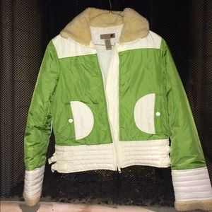 Retro green faux fur jacket size S