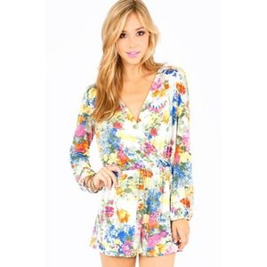 Killer Crossover Floral Long Sleeve Romper