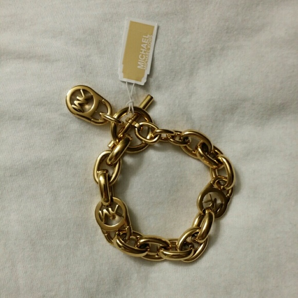 michael kors gifted mk gold tone logo lock toggle