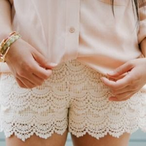 Dresses & Skirts - Crochet cream skort