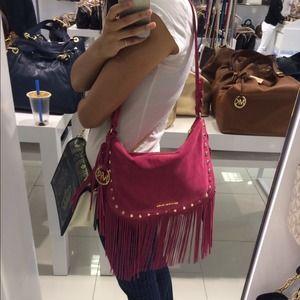 Michael Kors Bags - NWT Michael Kors billy fringe pink suede bag