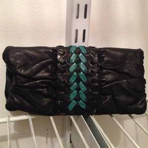 Lulu Black Faux Leather Mini Clutch