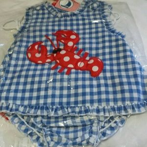 Mudpie Lobster Pinafore & bloomers