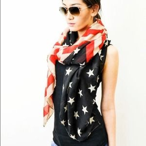 OVER-SIZED Vintage Look American Flag Scarf