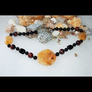 Yellow Jade,Black Onyx & Tiger Eye Necklace