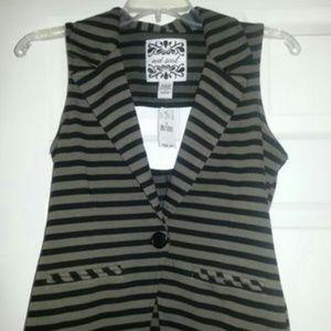 Striped Olive Cutout Vest button faux pockets