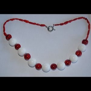handmade & handcrafted gemstone jewelry Jewelry - White Tridacna Shell & Red Sea Coral Necklace
