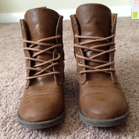 Nollie - Brown Short Combat Boots with Buckles from Emmalee's ...