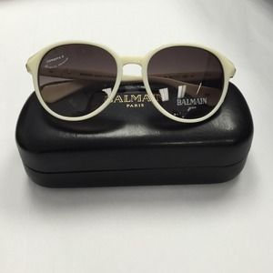 5faa1cbaa Balmain Accessories | White Round Baroque Acetate Sunglasses | Poshmark