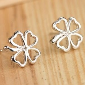 Jewelry - NWT Silver Stud Shamrock Earrings