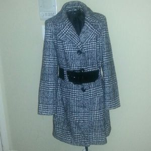 Anne Klein houndstooth plaid wool coat