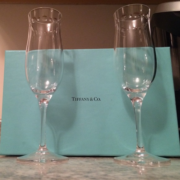 Tiffany Amp Co Other Tiffany Co Champagne Flutes Pair Of