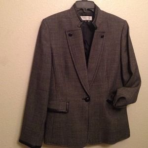 TAHARI Arthur Levine Blazer Wool  PU Trimming 10