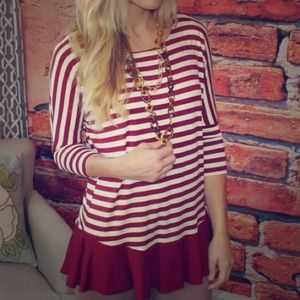 Tops - 🆕Maroon and white striped girly top