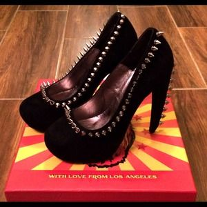 Jeffrey Campbell Shoes - JEFFREY CAMPBELL Madame Spike Black Suede Heels