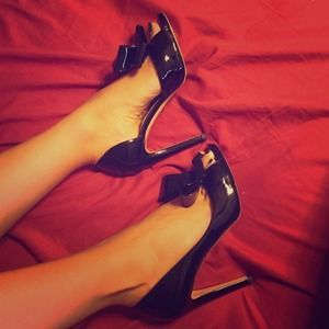 Valentino Shoes - Valentino Patent Leather Bow Open Toe Heels