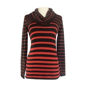 🎁SALE🎁 Black w/ Red Stripes Cowl Neck Sweater