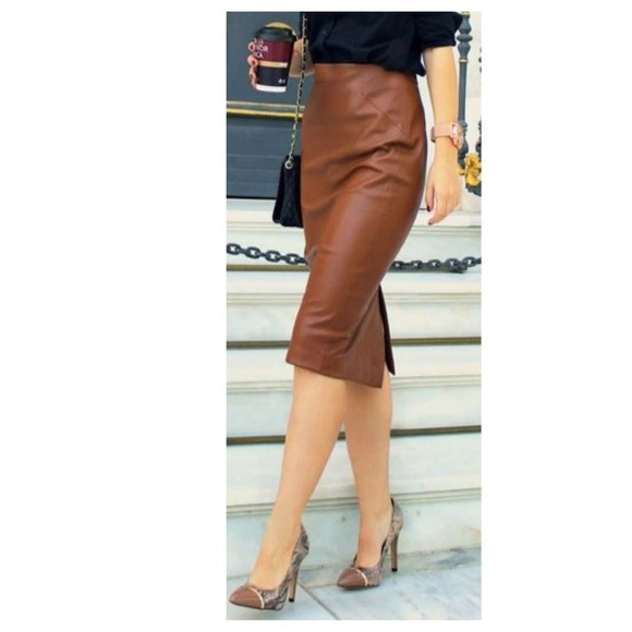 Camel Leather Pencil Skirt | Jill Dress