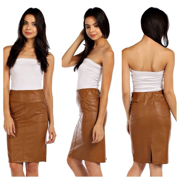 50% off Dresses & Skirts - Camel vegan leather midi pencil skirt ...